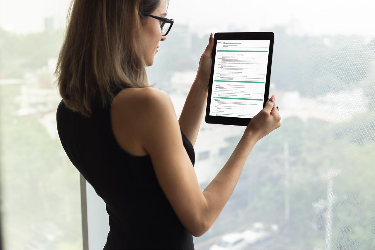 Business Woman Reading the CFO-Box